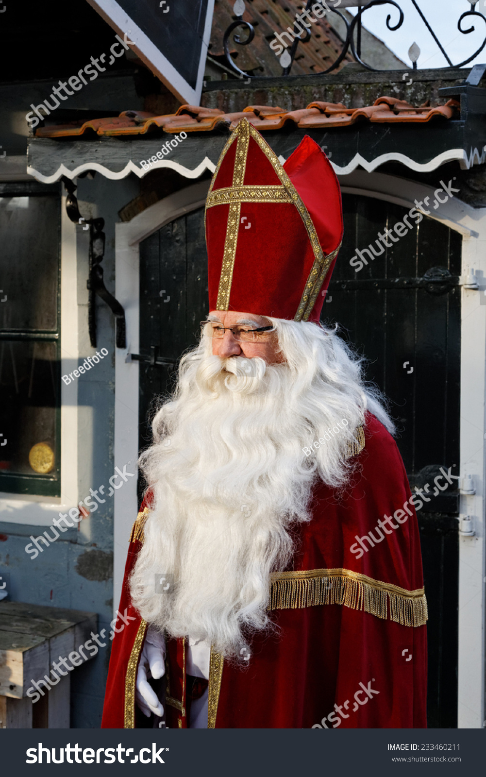 saint nicholas costume looking stock photo 233460211