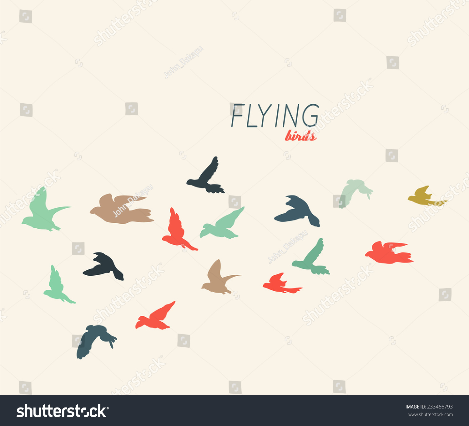 Stock Vector Retro Silhouettes Of Flying Birds Vector Illustration