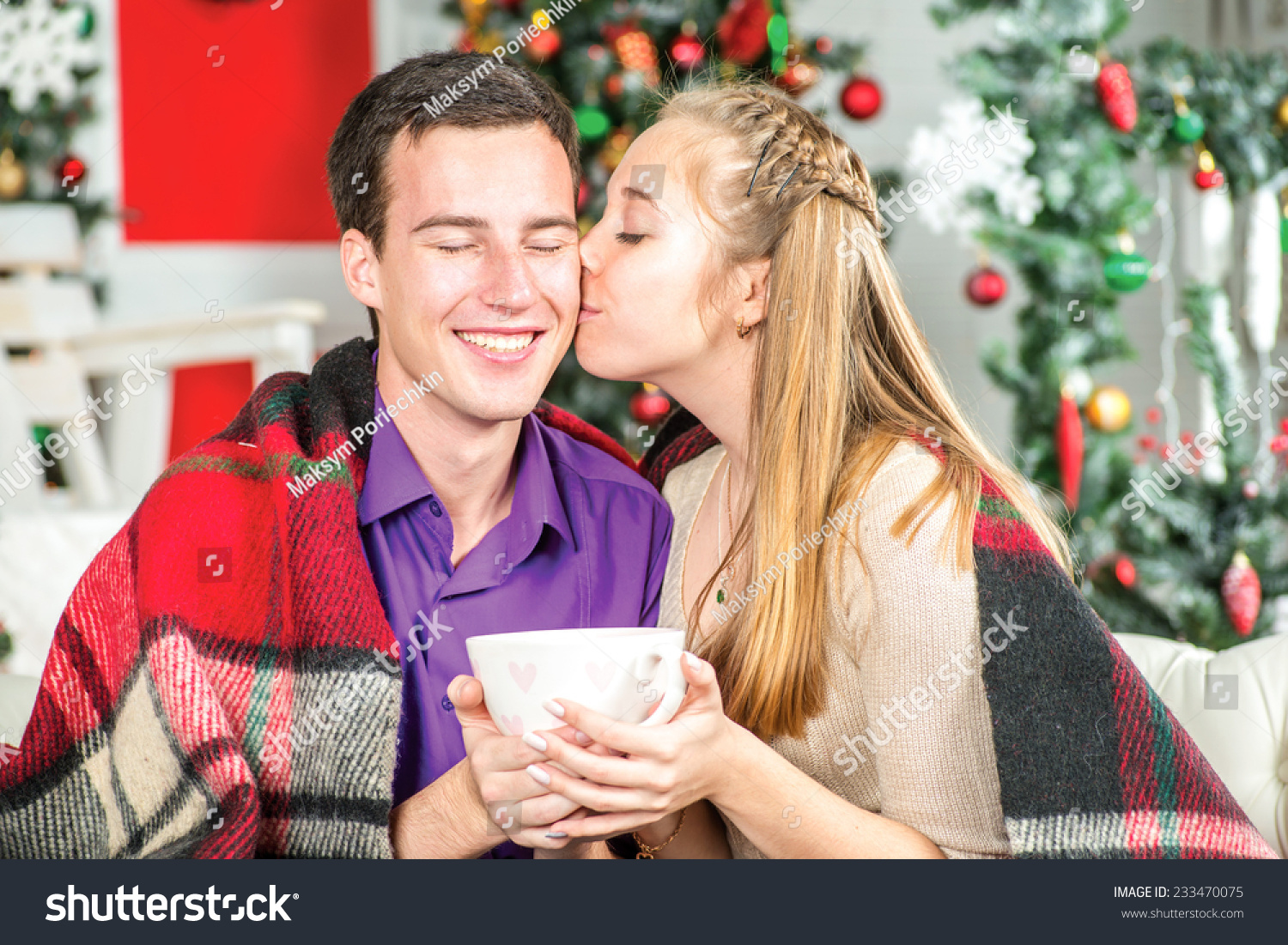 Christmas Kiss Young Beautiful Couple Holding Stock Photo (Edit Now ...
