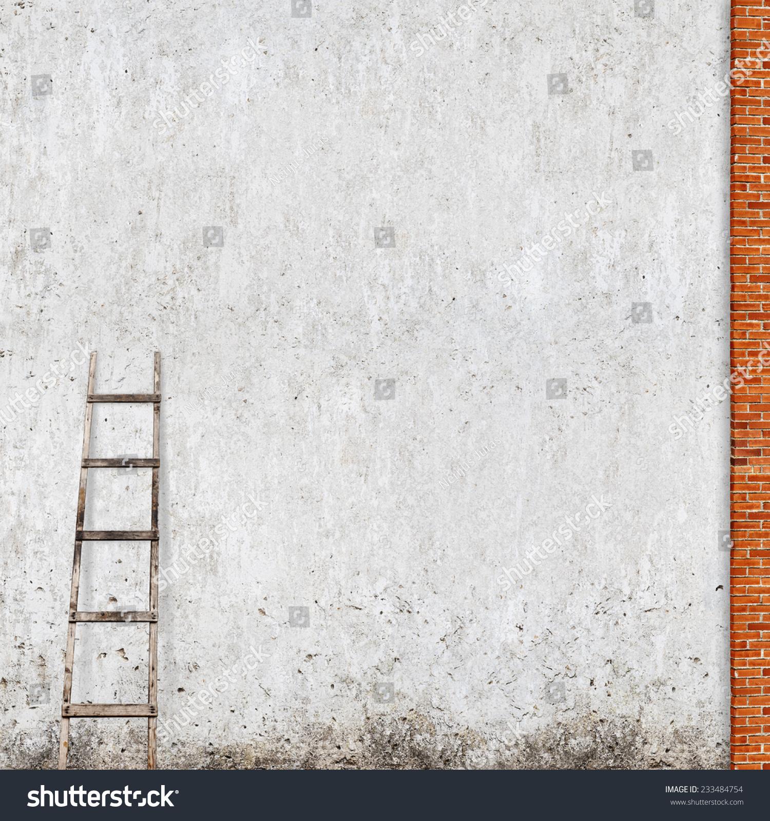 Stucco On Frame : Weathered stucco wall red brick frame stock photo