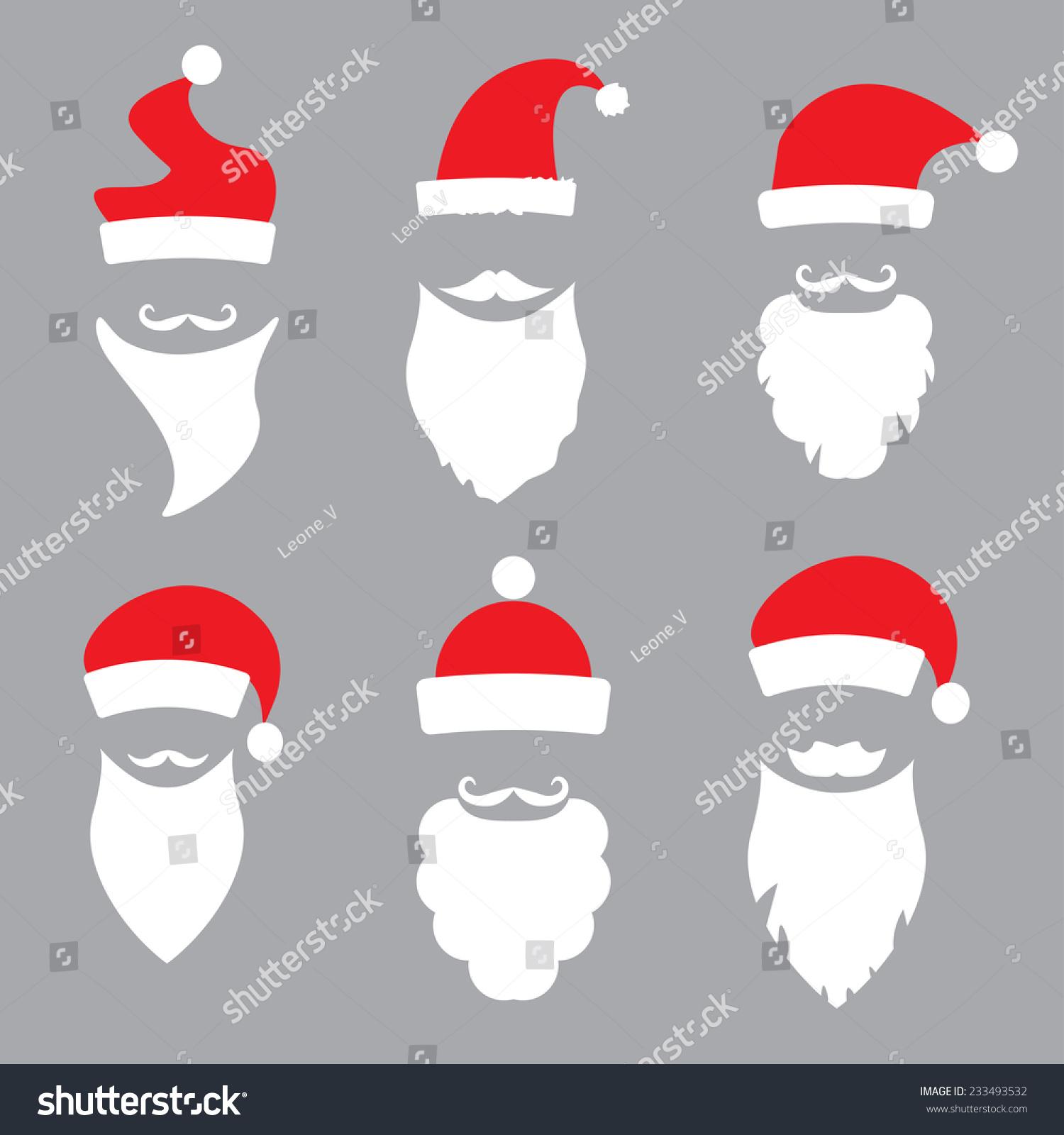 324c5c12a6c Hats Beards Santa Vector Set Stock Vector (Royalty Free) 233493532 ...