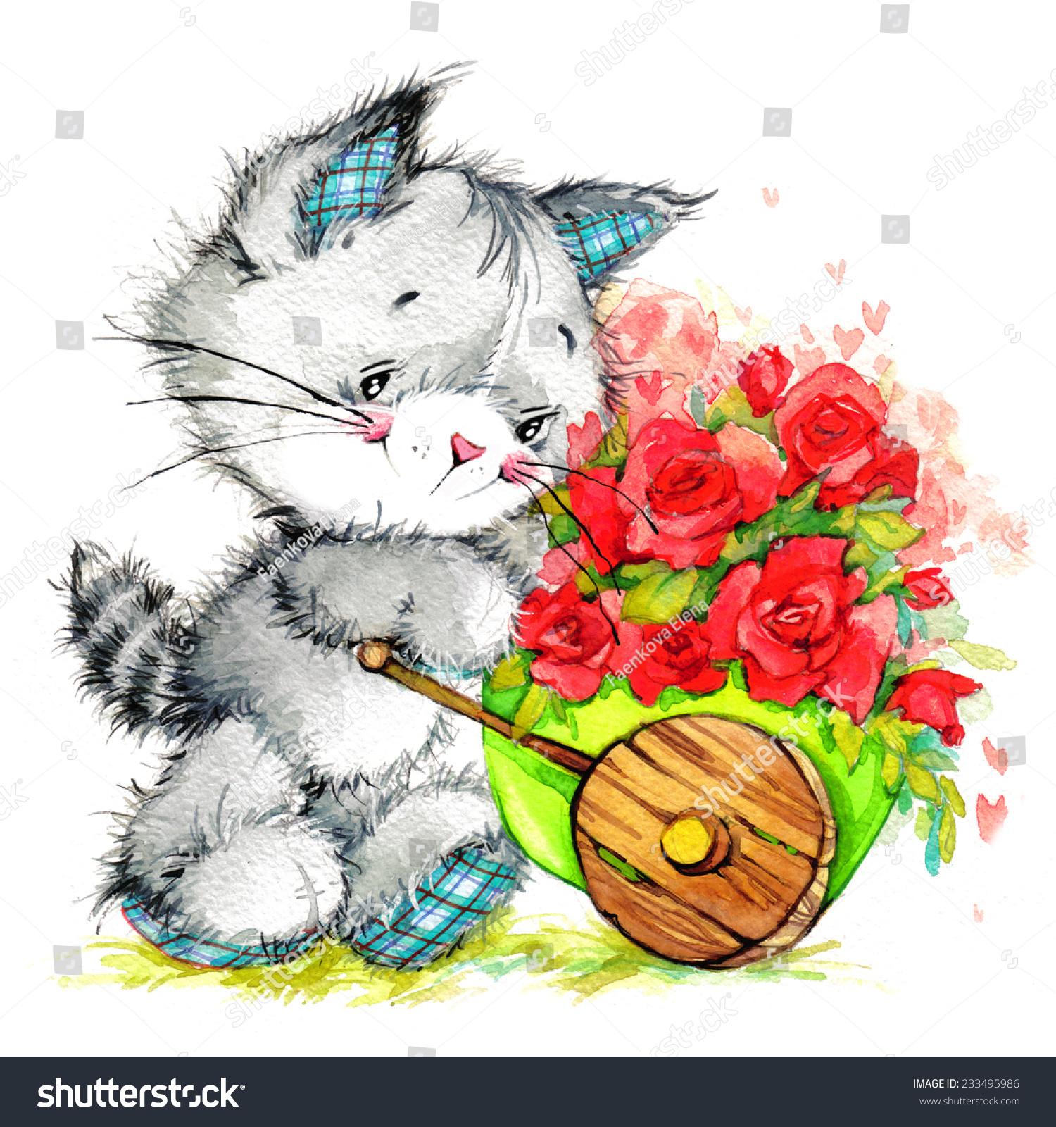 Kitten Flowers Delivery Celebrate Greetings Festival Stock ...
