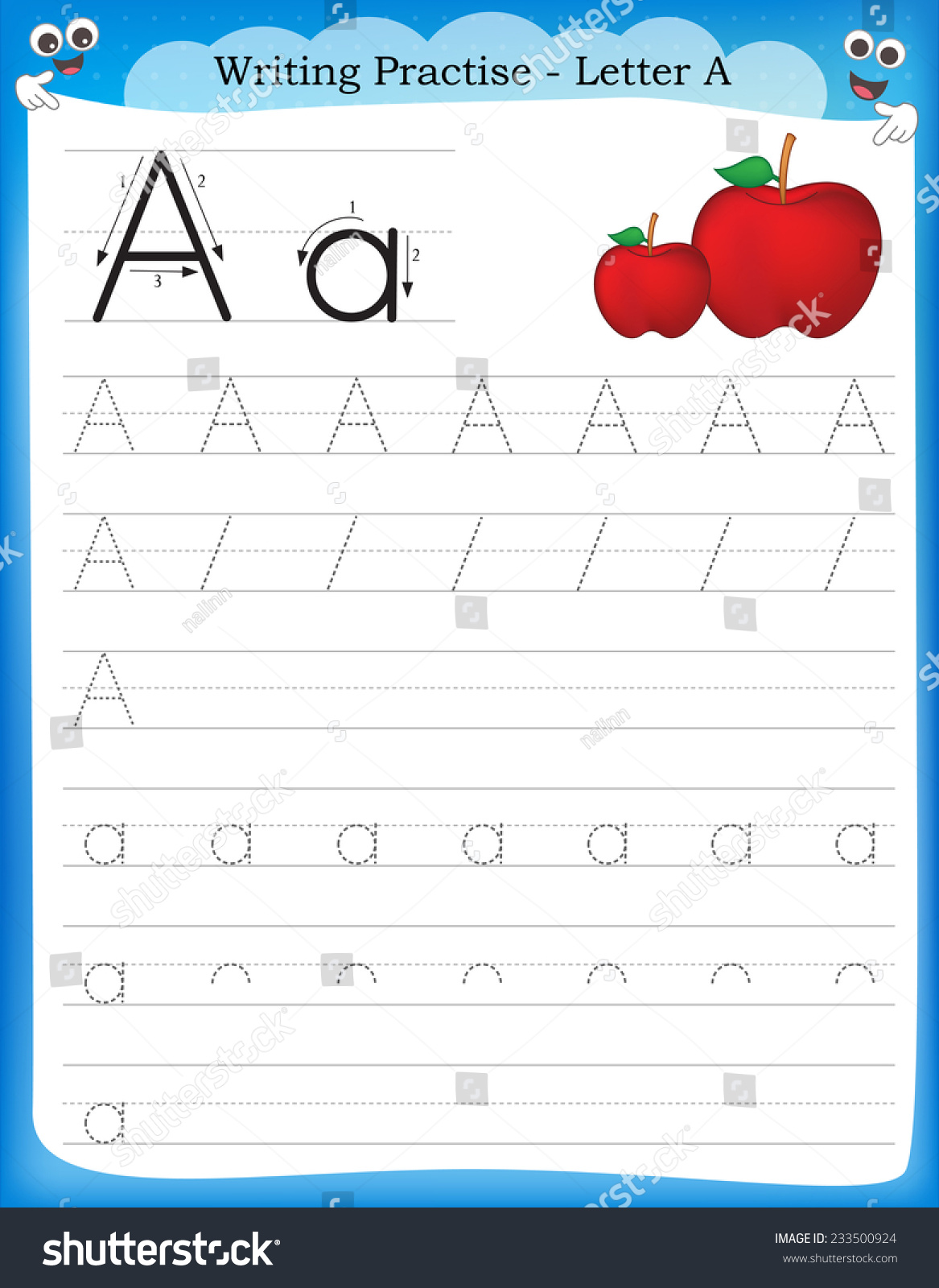Worksheet Preschool Writing Practice writing practice letter printable worksheet preschool stock vector a for kindergarten kids to improve basic skills