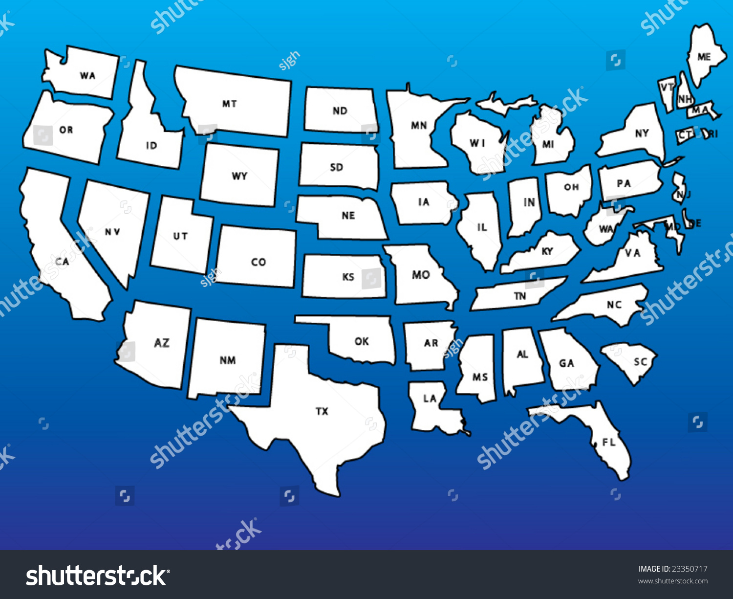 Detailed Usa Map States Separate Layers Stock Vector - Detailed map of us states