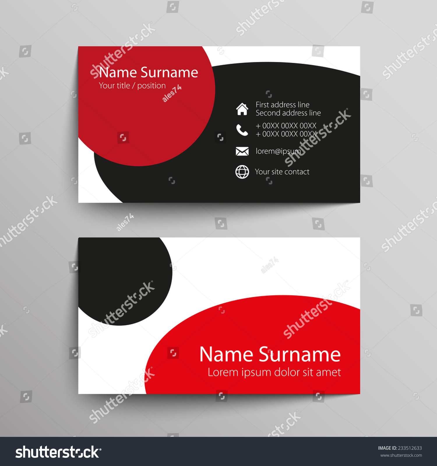 Modern Simple Business Card Template Vector Stock Vector 233512633 ...