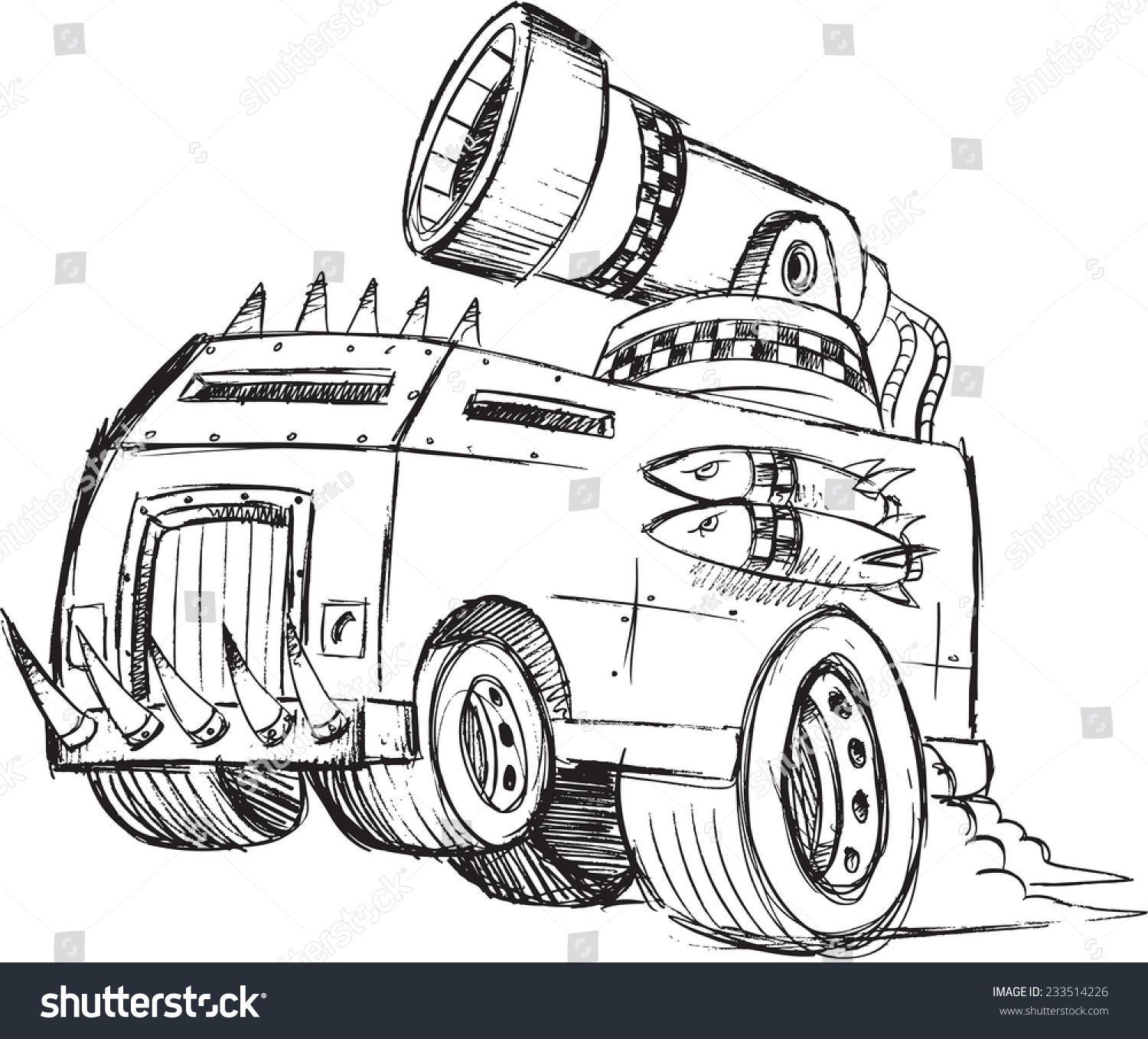 Armored Truck Vehicle Sketch Vector Illustration Stock Vector ...