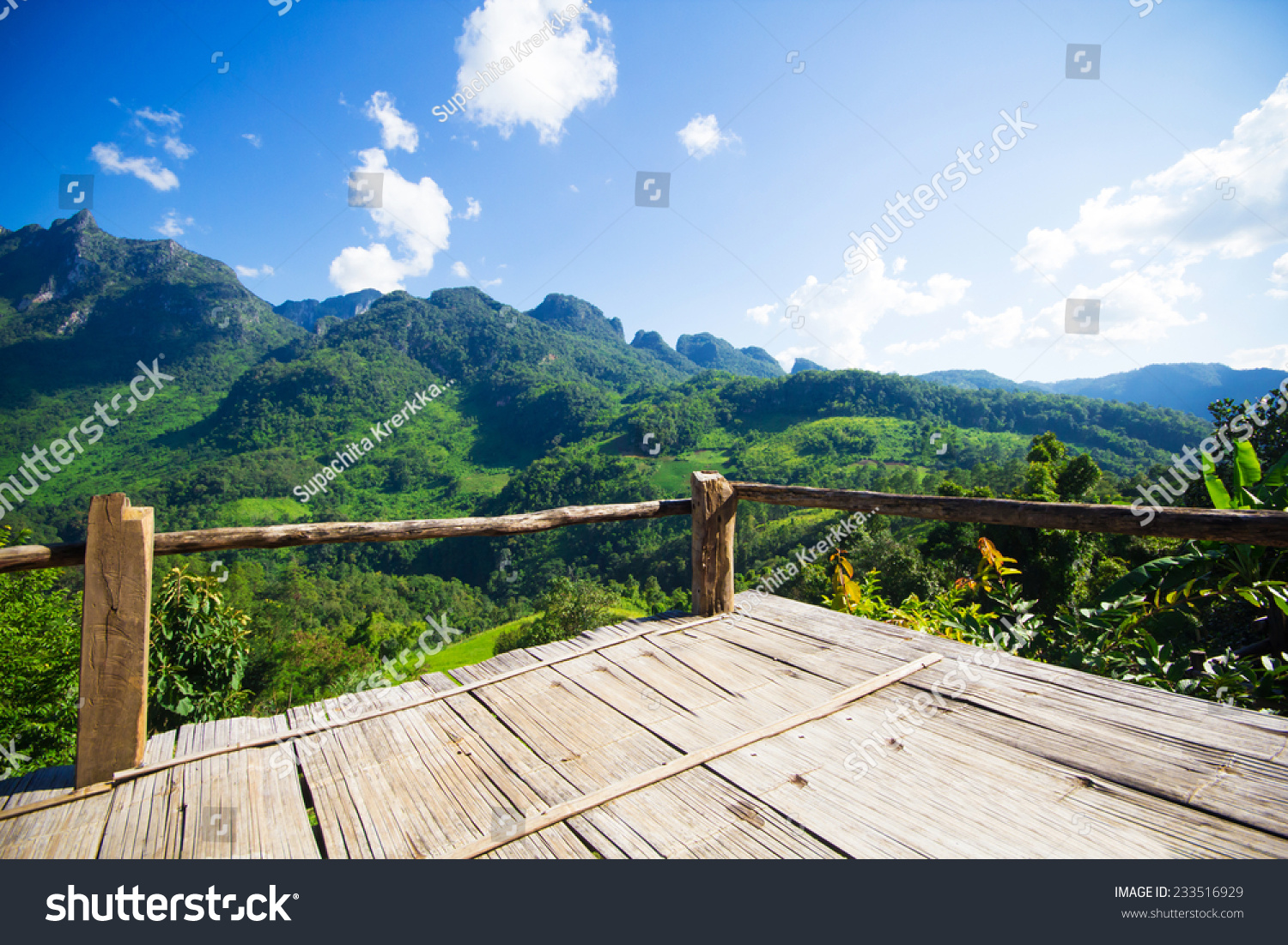Bamboo bench terrace with the natural mountain view at for Terrace nature
