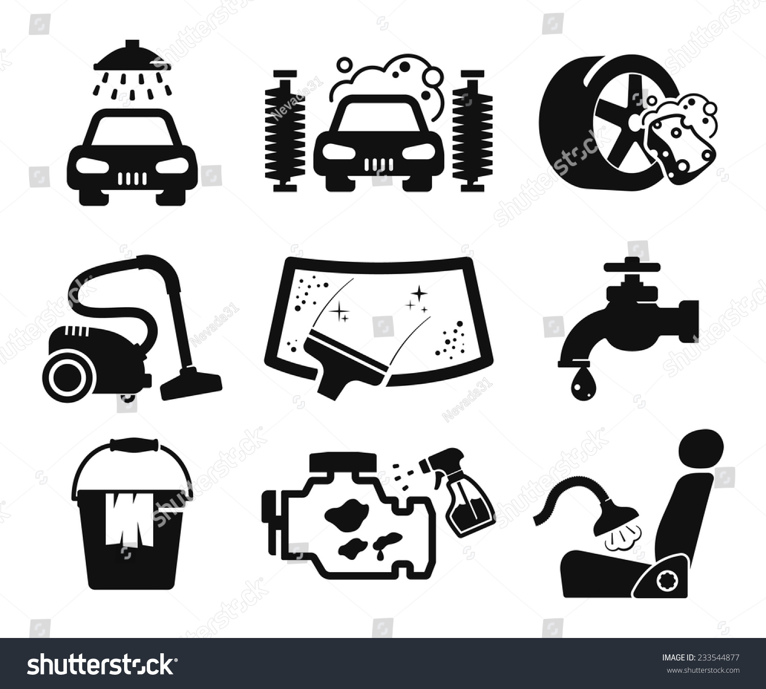 Car Wash Icons Set Stock Vector 233544877 Shutterstock