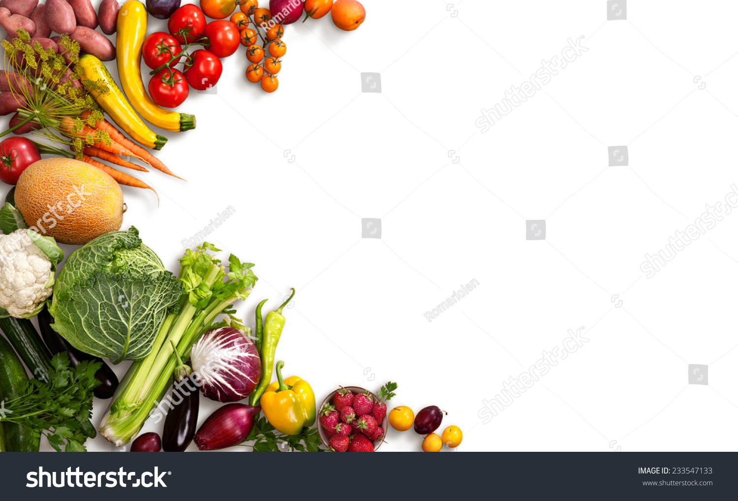 Food background studio photo of different fruits and vegetables - Healthy Food Background Studio Photo Of Different Fruits And Vegetables On White Backdrop