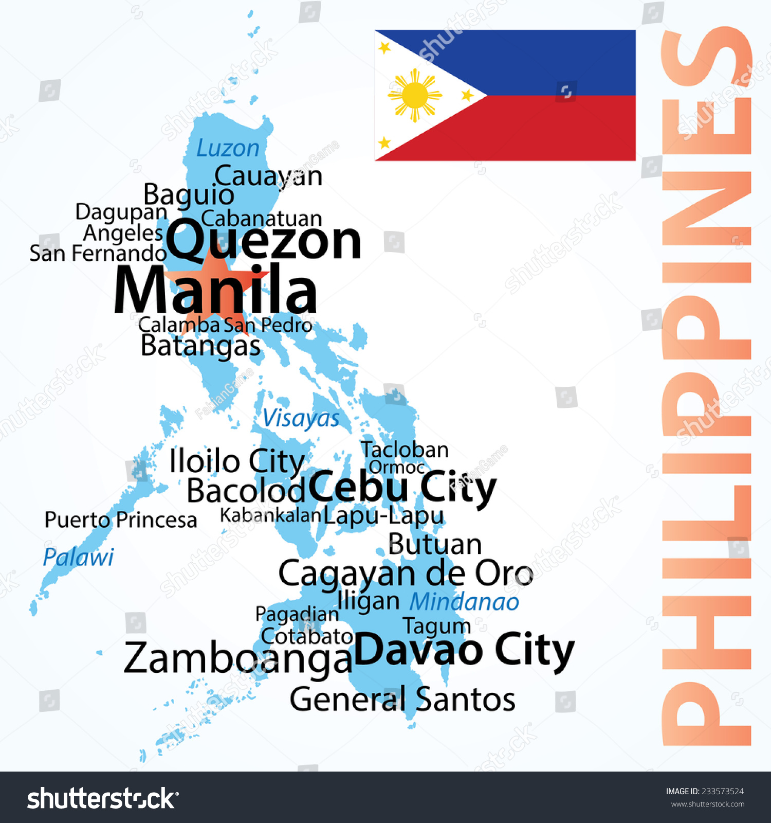 Philippines Vector Map Largest Cities Carefully Stock Vector - Map of the philippines cities