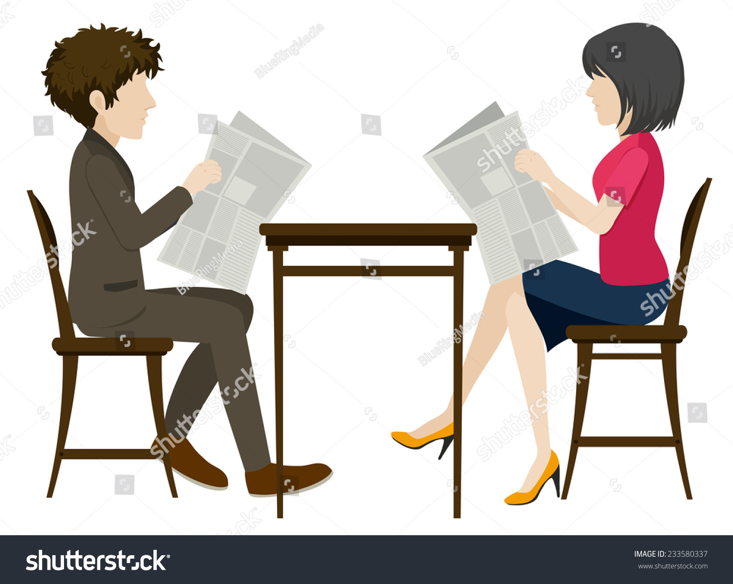 people sitting at table white background. faceless people with newspapers on a white background sitting at table w