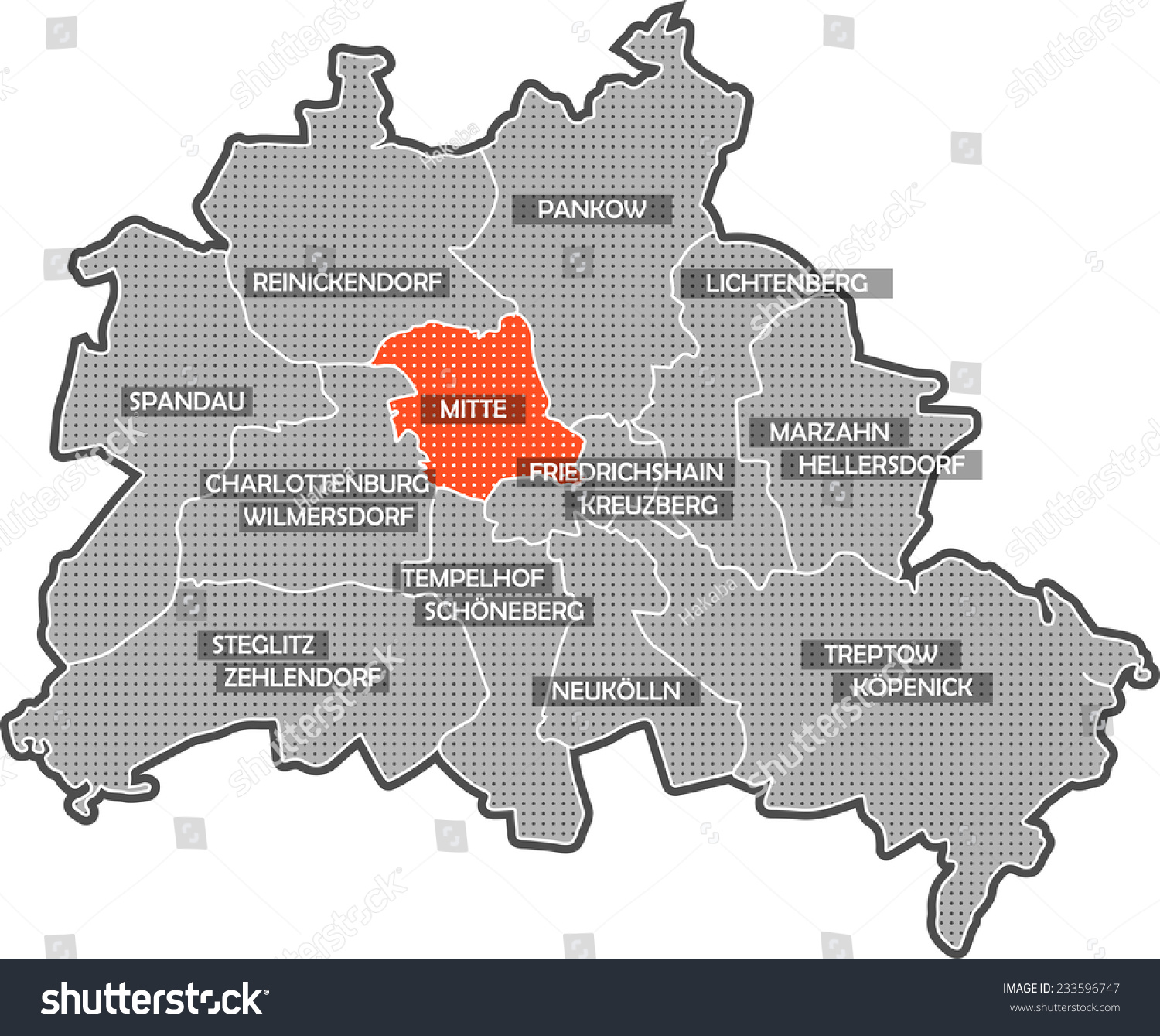 Map Berlin Districts Focus On District Stock Illustration 233596747 ...