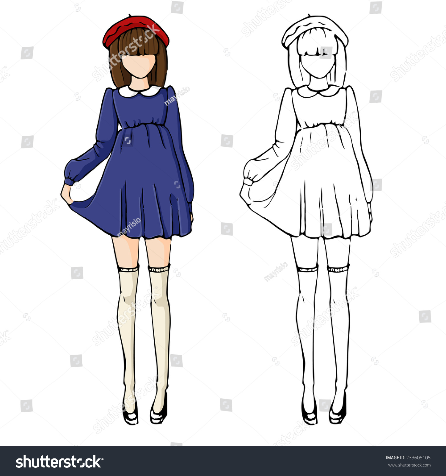 Fashion Sketch Drawing Girls Beautiful Looks Stock Vector 233605105 - Shutterstock
