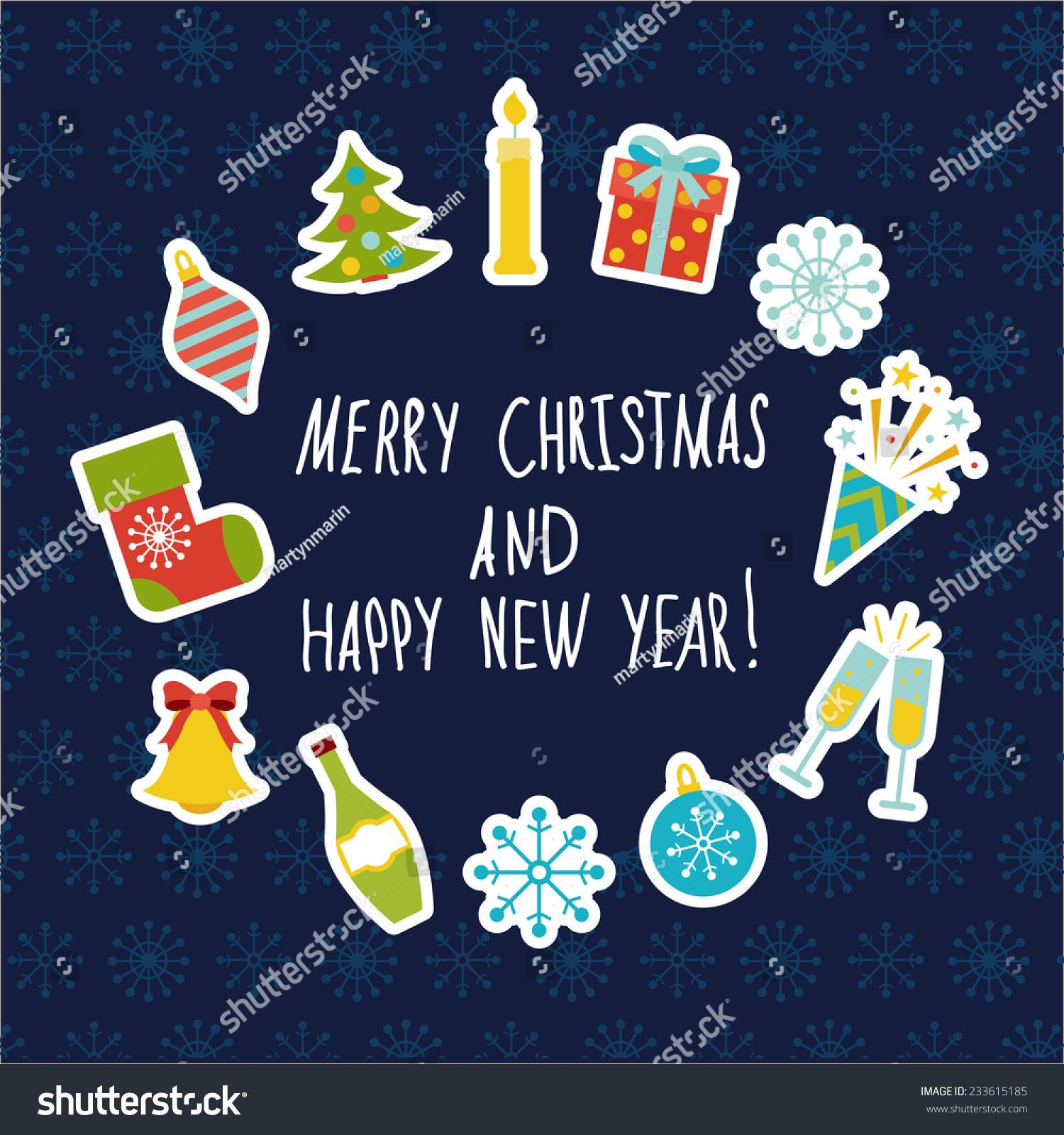 Celebration Icons Cute Frame Christmas Symbols Stock Vector Royalty