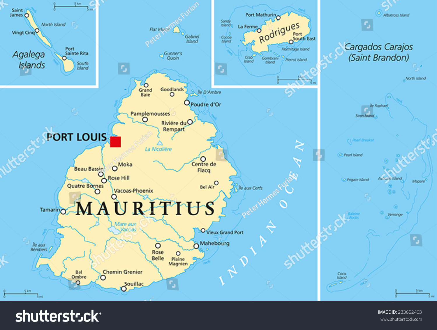 Mauritius Political Map Capital Port Louis Stock Vector - Mauritius on world map