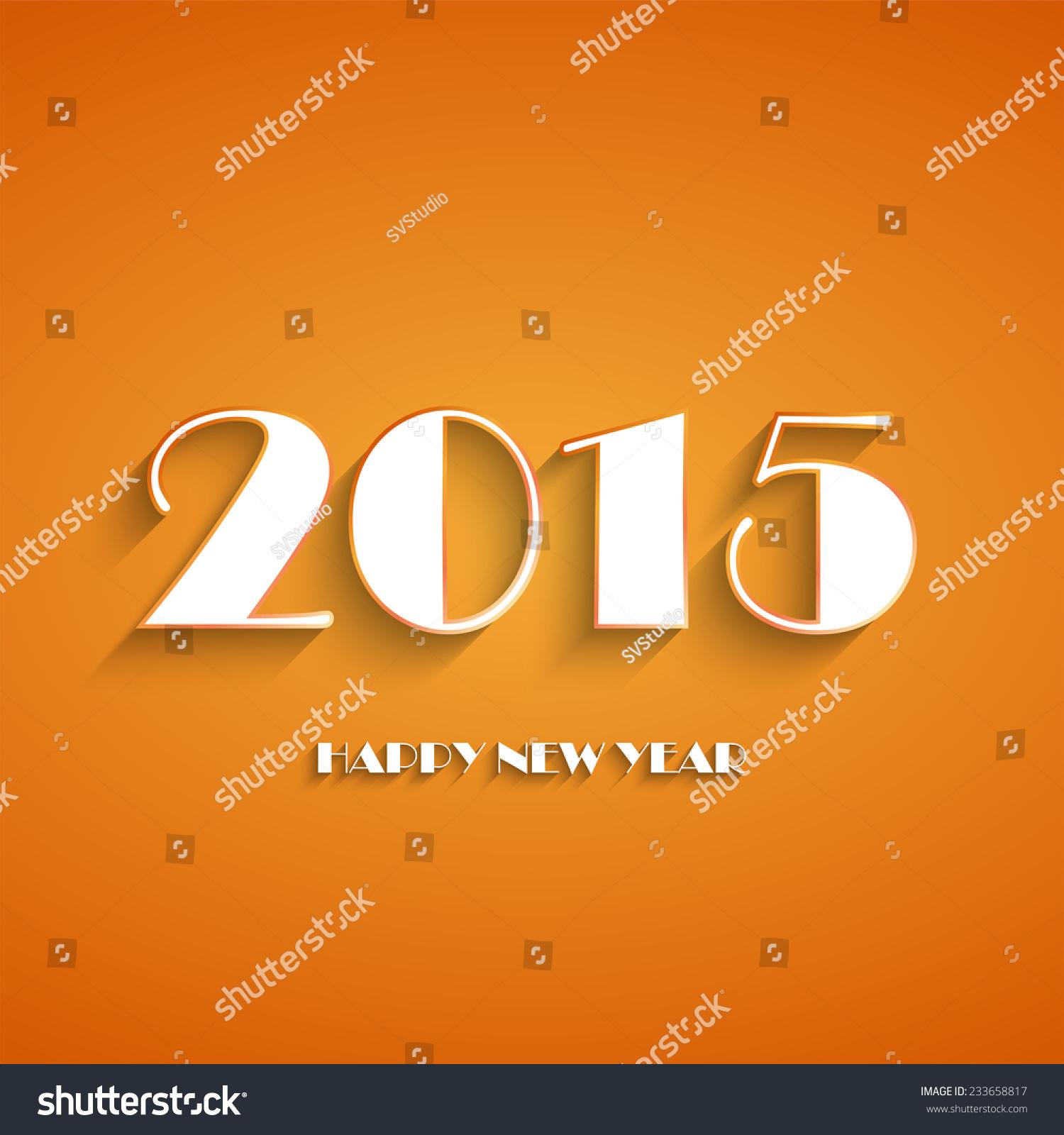 Happy new year 2015 creative greeting card logo design in orange and id 233658817 m4hsunfo