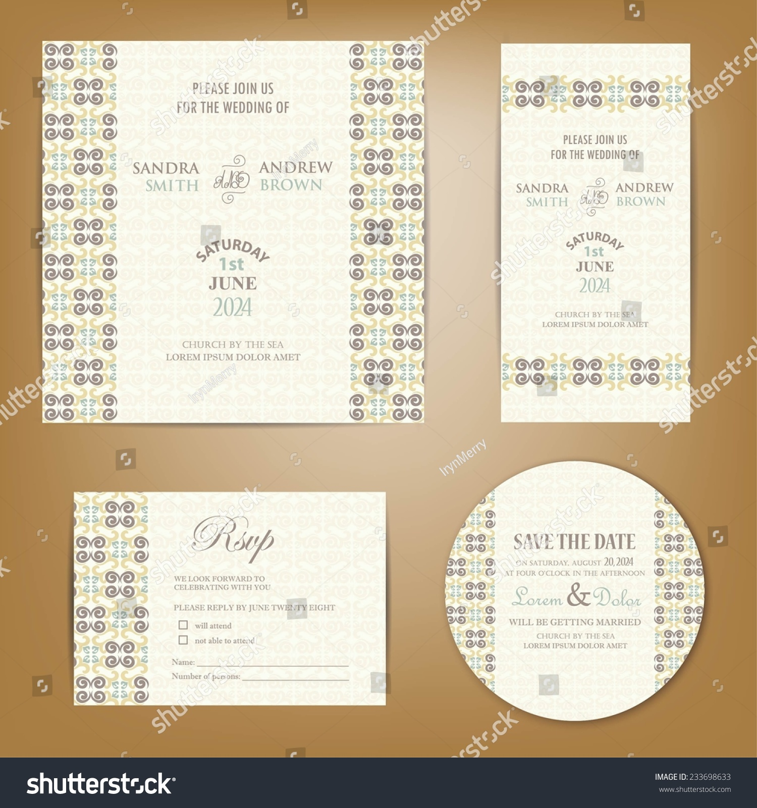 Set Vintage Wedding Invitation Cards Invitation Vector – Invitation Card Rsvp
