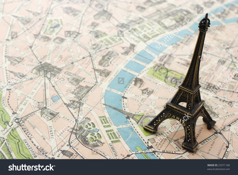 eiffel tower on map paris stock photo 23371168 shutterstock