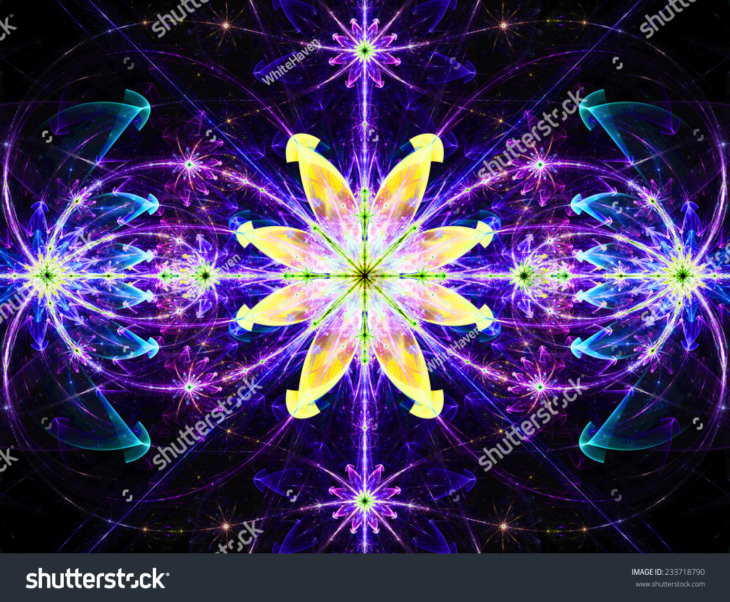 Glowing Pink And Purple Abstract High Resolution Wallpaper With A Detailed Modern Exotic Vivid Shining Flower In The Center Pattern