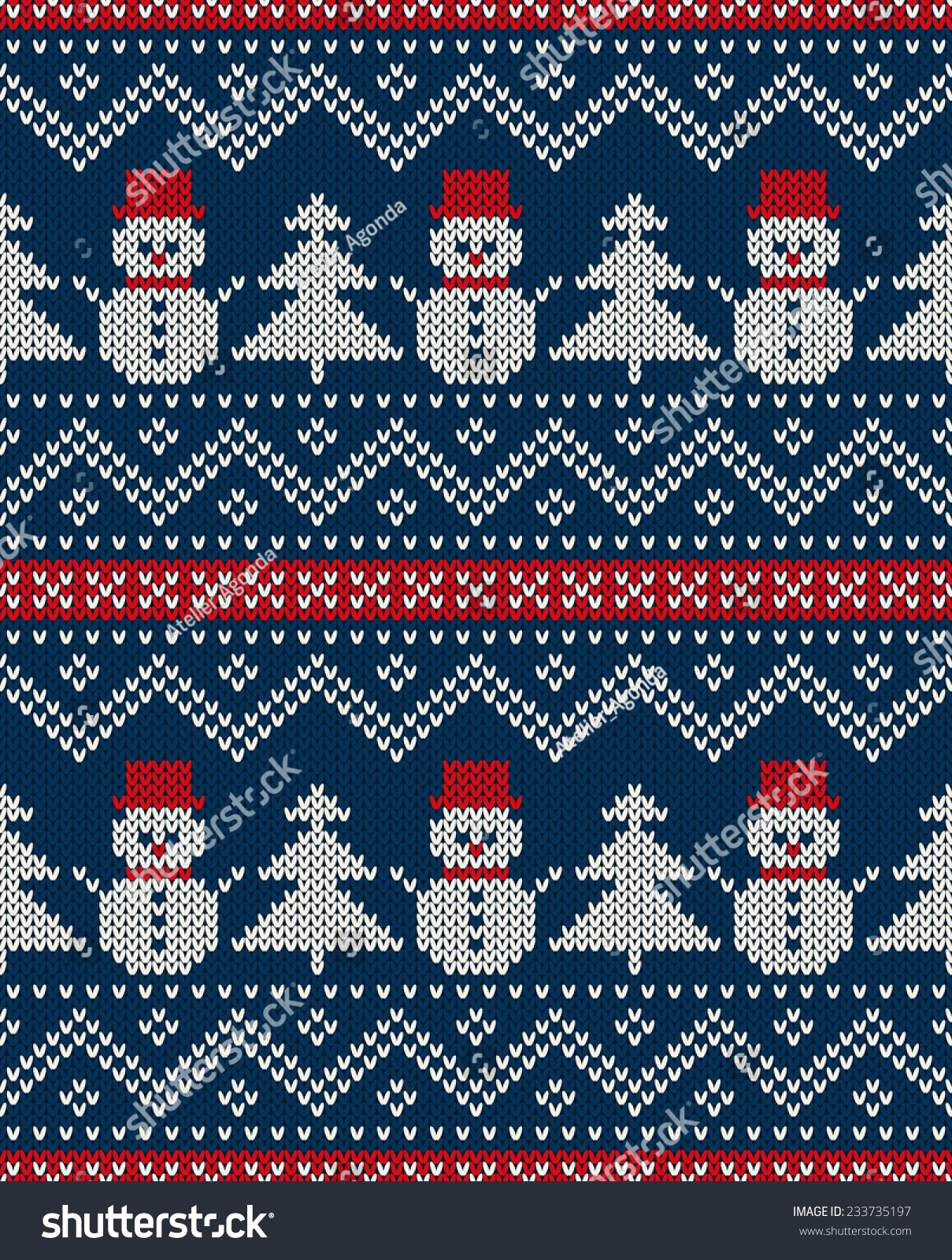 7e447b723149 Winter Holiday Seamless Knitted Pattern Snowman Stock Vector ...