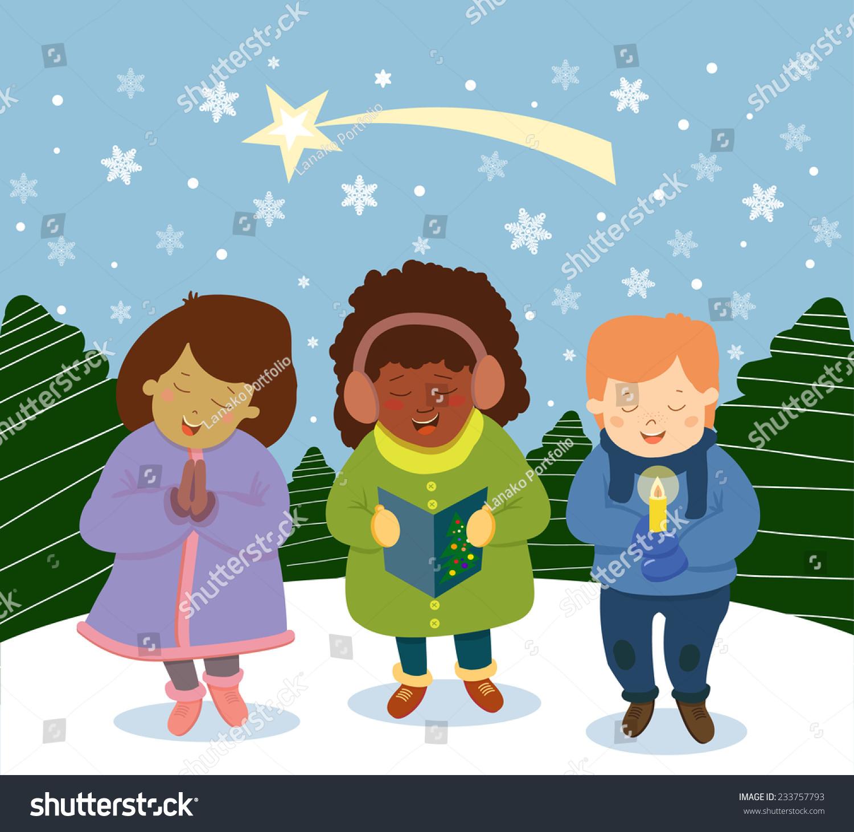 Group Multinational Kids Singing Christmas Carols Stock ...