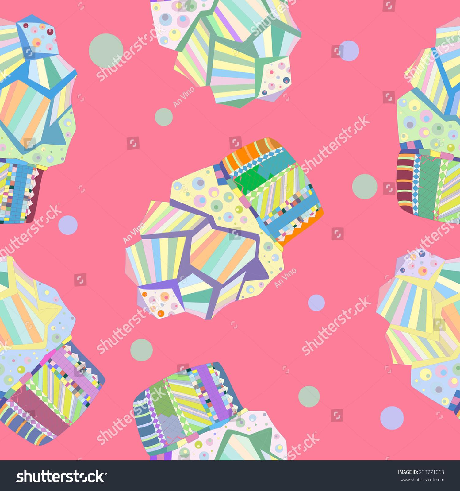 Seamless Doodle Cake Pattern Birthday Cake Stock Vector 233771068