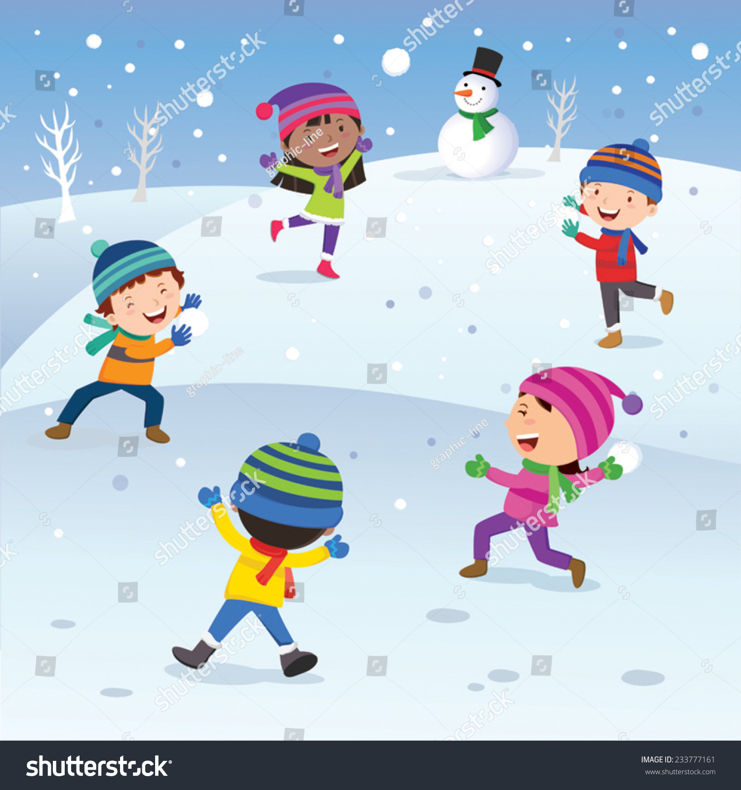 winter fun children playing snowball happily stock vector 233777161