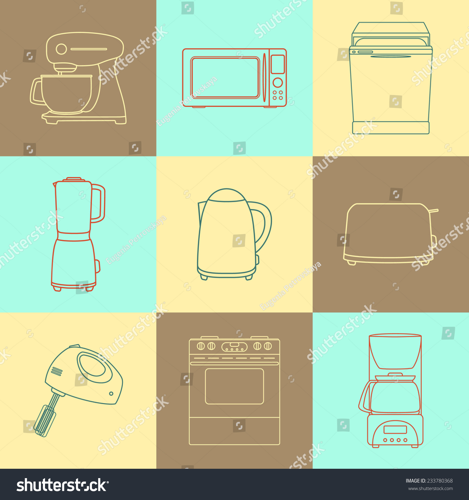 set kitchen appliances icons cook tools stock vector