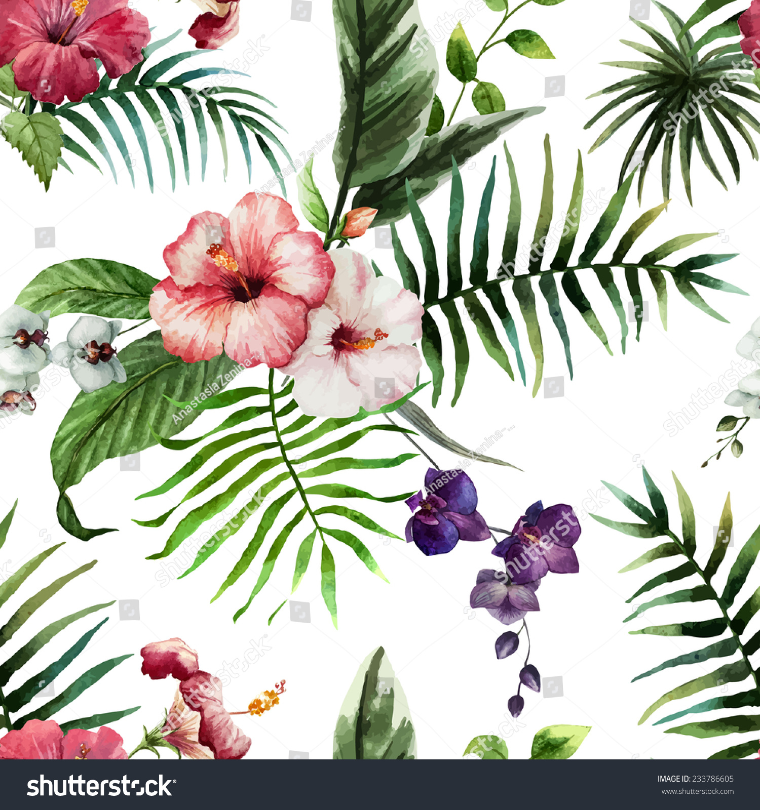 hibiscus wallpaper watercolor stock vector (2018) 233786605