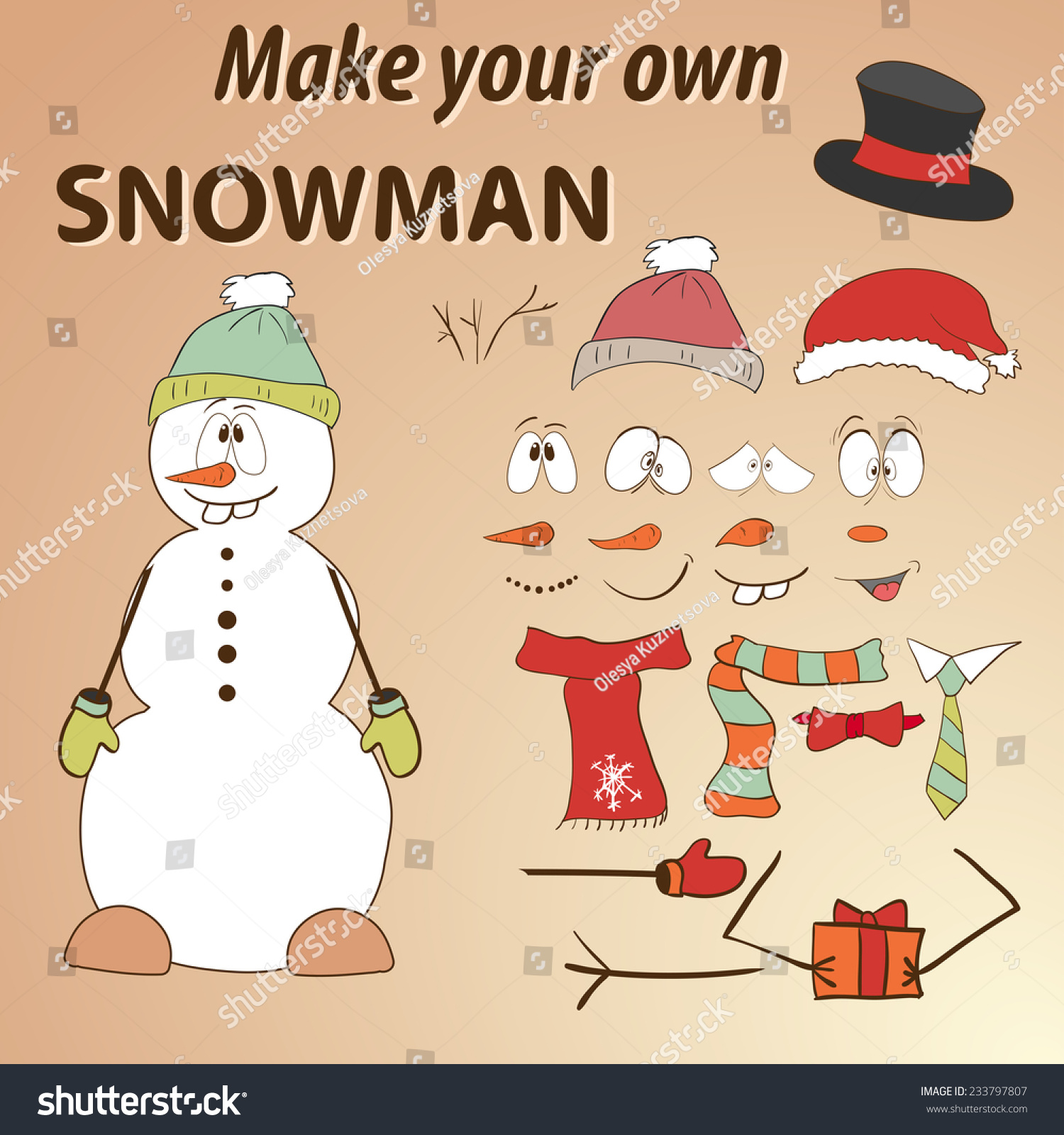 Funny hand drawn snowman do yourself vectores en stock 233797807 funny hand drawn snowman do it yourself parts of face and body template for solutioingenieria Image collections