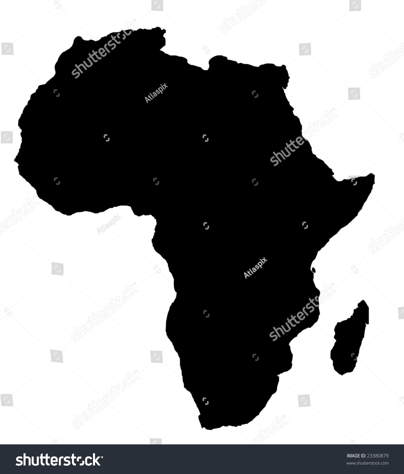 outline map africa continent black isolated stock illustration