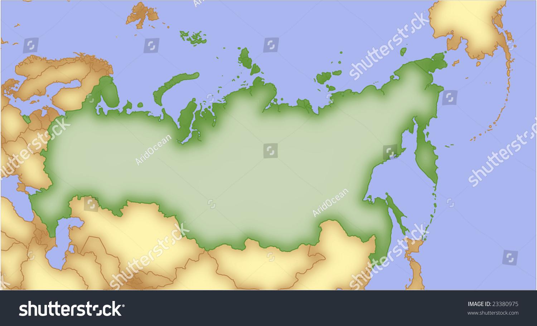 Russia Vector Map Borders Surrounding Countries Stock Vector - Russia map and surrounding countries