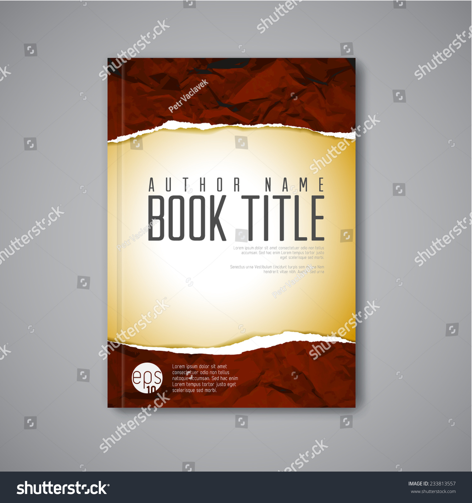 Modern Book Cover Vector : Modern vector abstract book cover template with teared