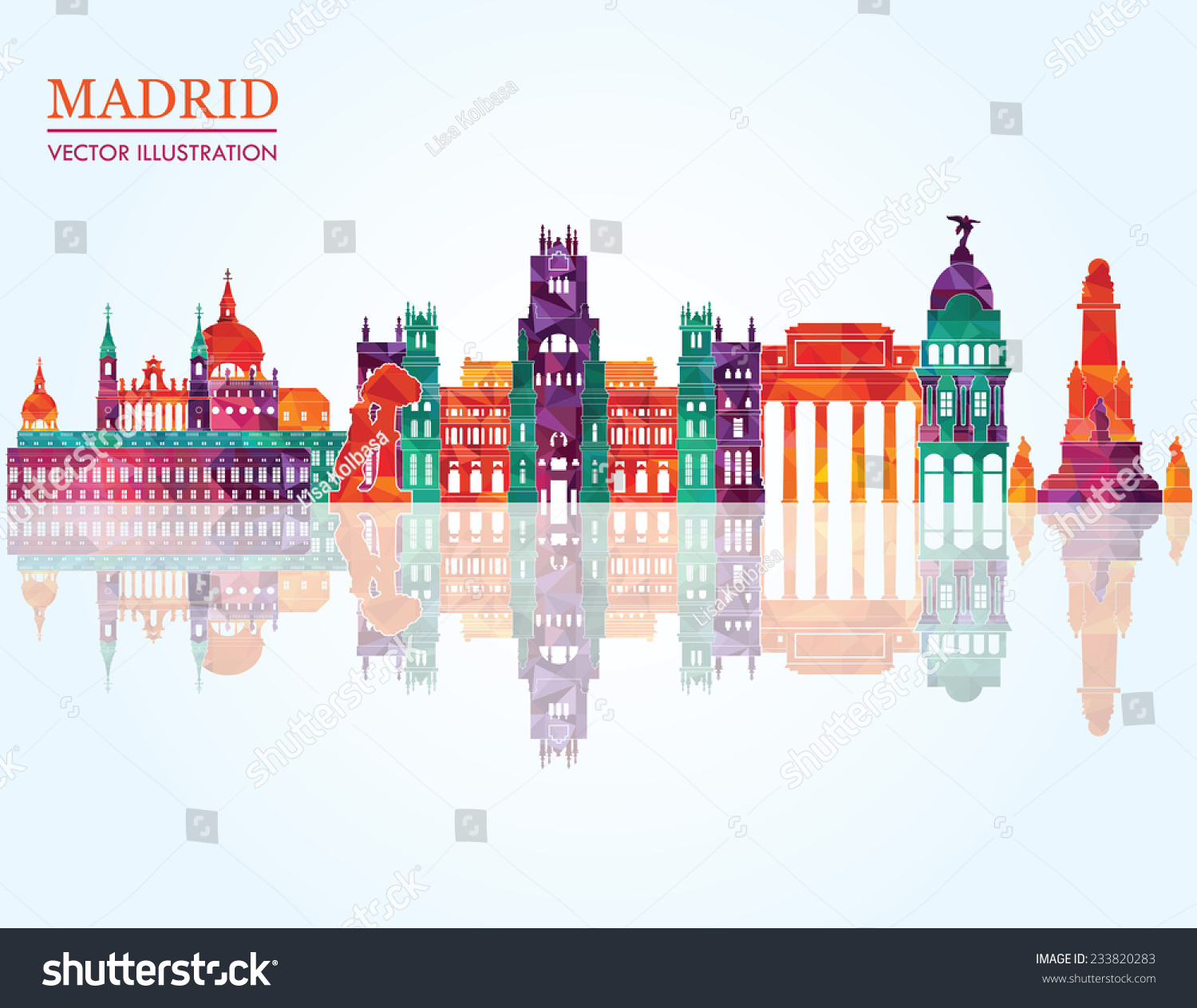 Madrid skyline vector illustration