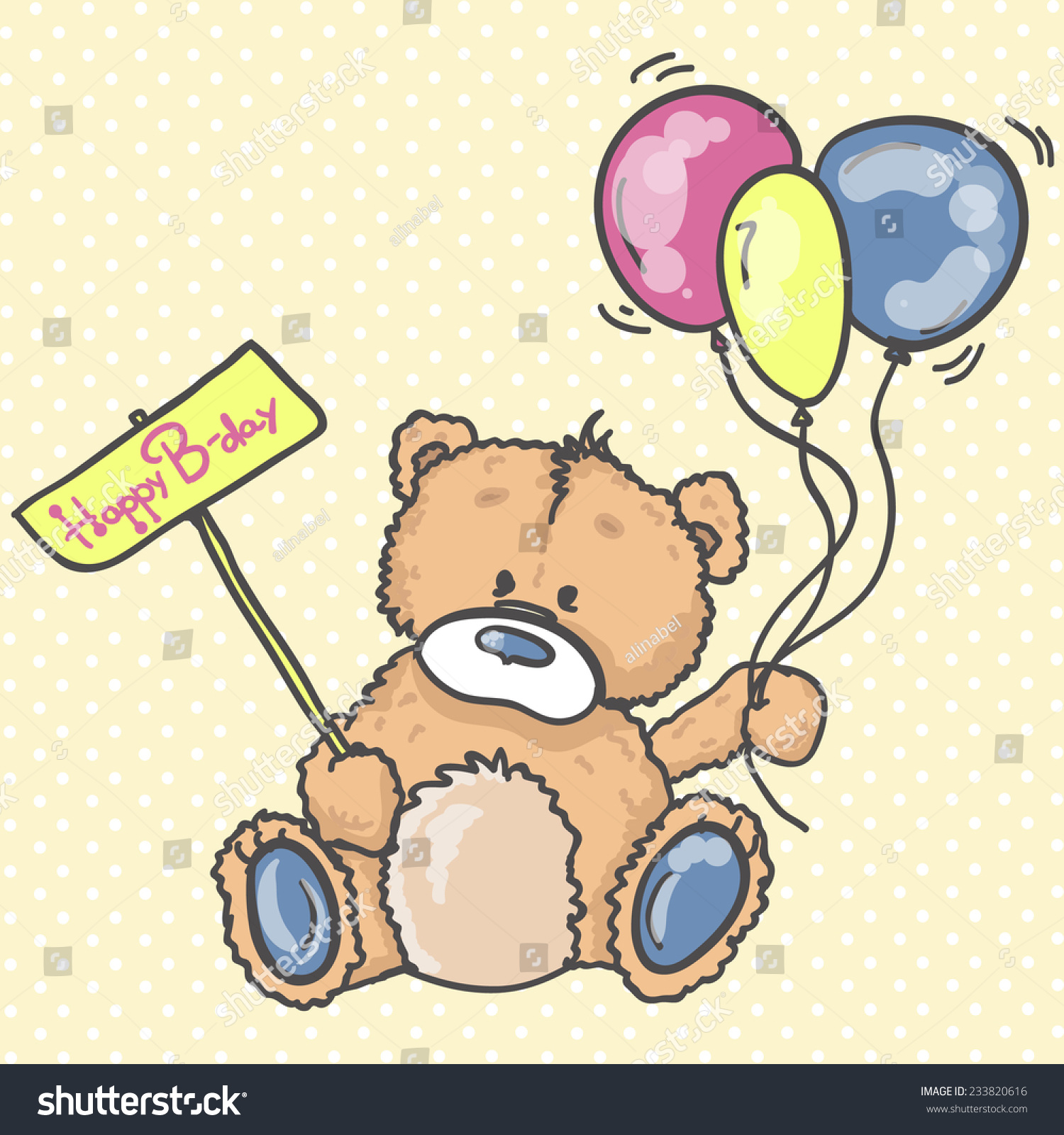 Hand Drawn Teddy Bear Birthday Greeting Stock Vector 233820616 ...