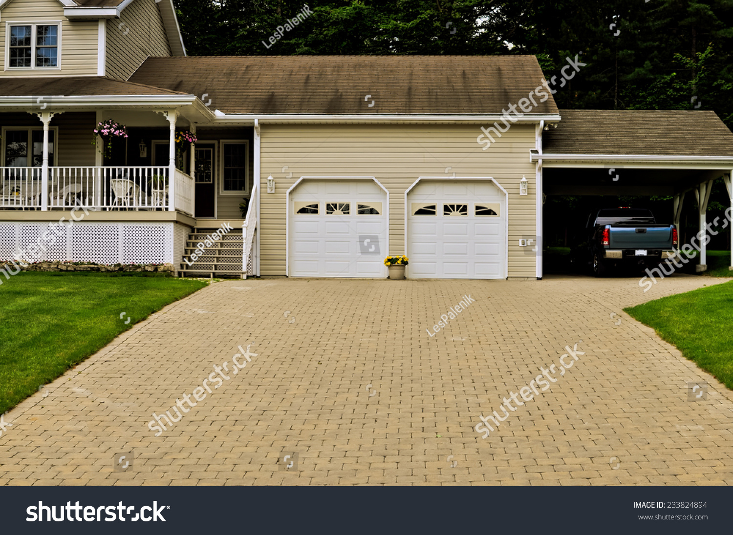 Country home double garage truck under stock photo for Country carports