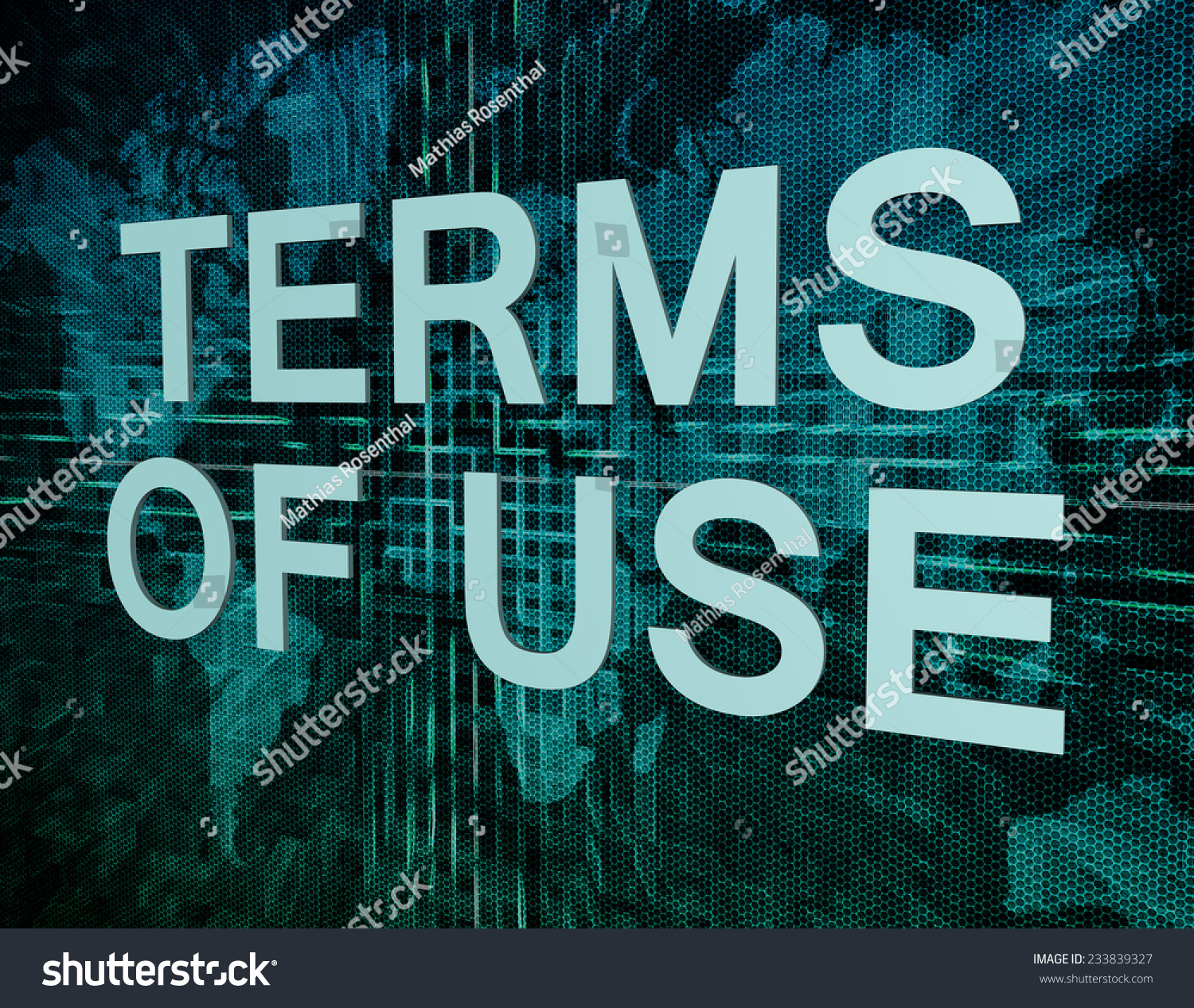 Terms Of Use: Terms Of Use Text Concept On Green Digital World Map
