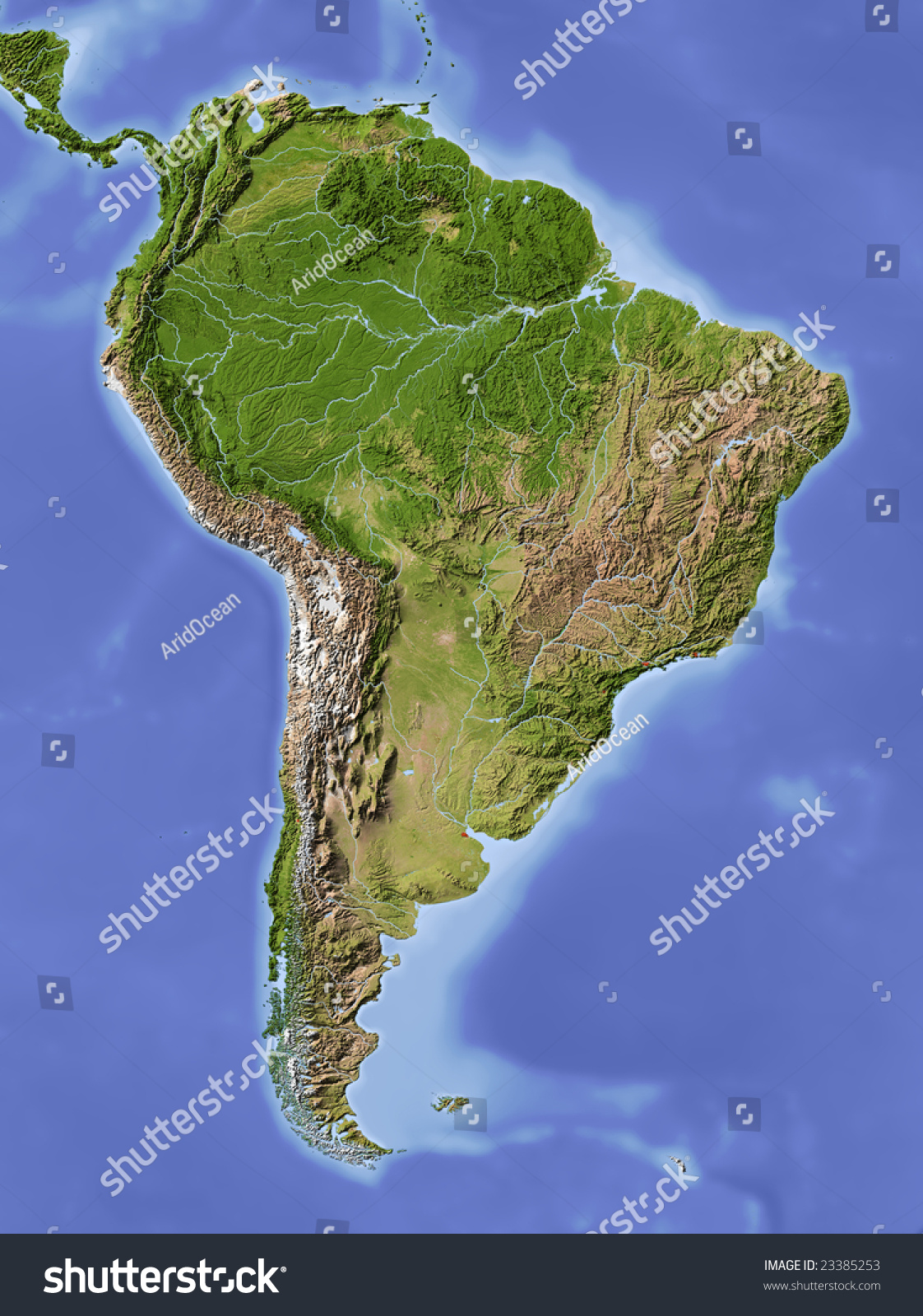 south america shaded relief map colored stock illustration