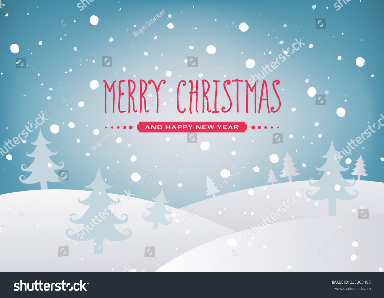Merry Christmas Landscape Stock Vector (Royalty Free) 233863498 ...