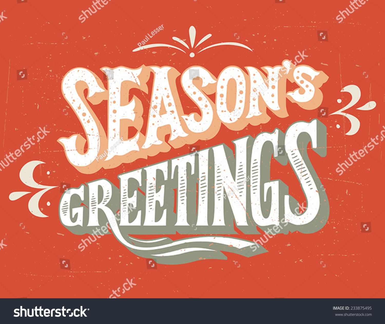 Seasons Greetings Vintage Handlettering Retro Card Stock Vector