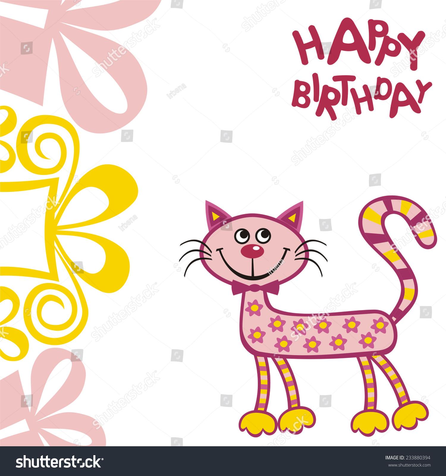 Happy birthday greeting card cat vector stock vector 233880394 happy birthday greeting card with cat vector illustration kristyandbryce Gallery