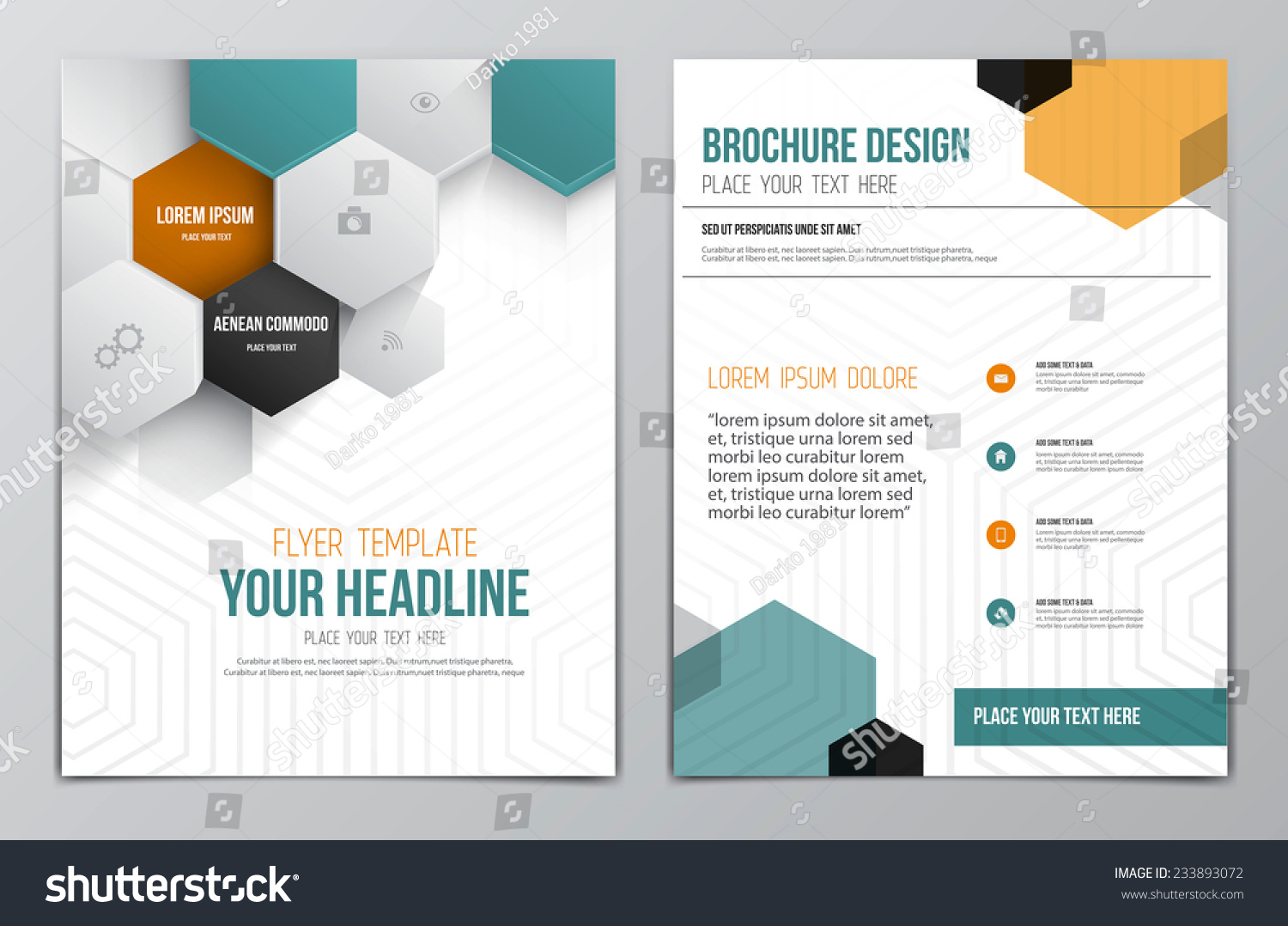 Brochure design template geometric shapes abstract stock for Modern brochure design templates