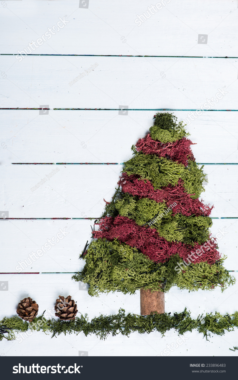 Christmas Tree Made Green Red Moss Stock Photo Edit Now 233896483