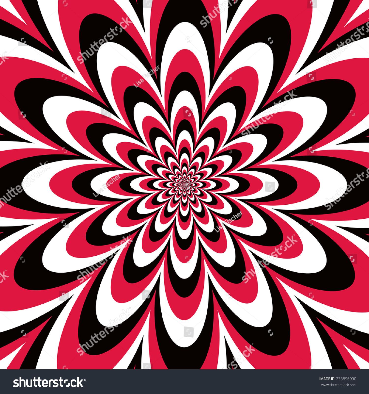 infinite flower op art design red stock vector 233896990