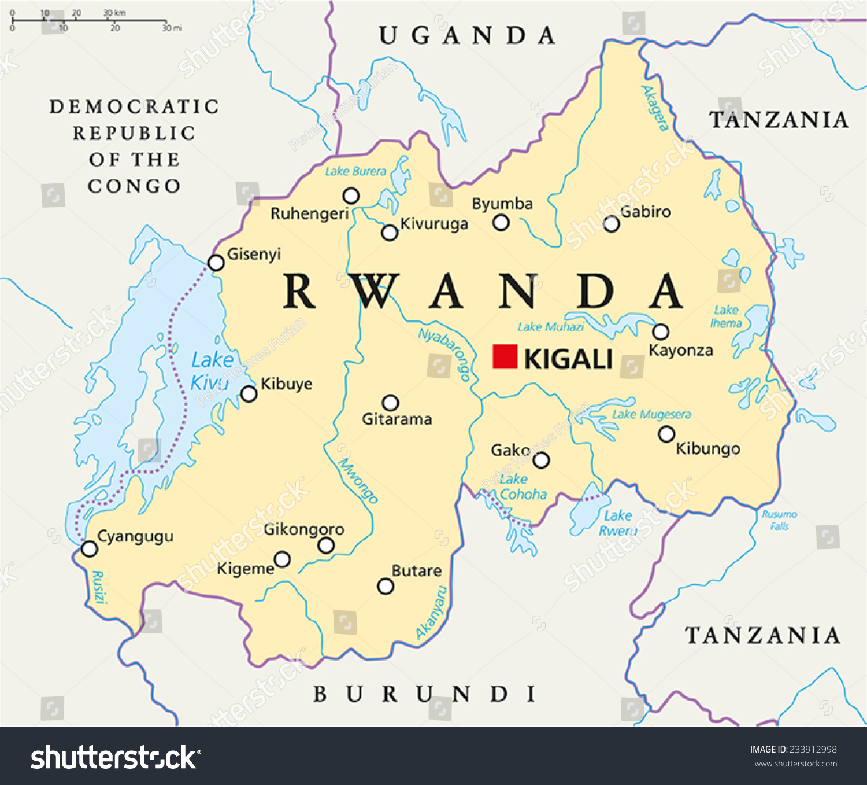 Rwanda Political Map Capital Kigali National Stock Vector (Royalty ...
