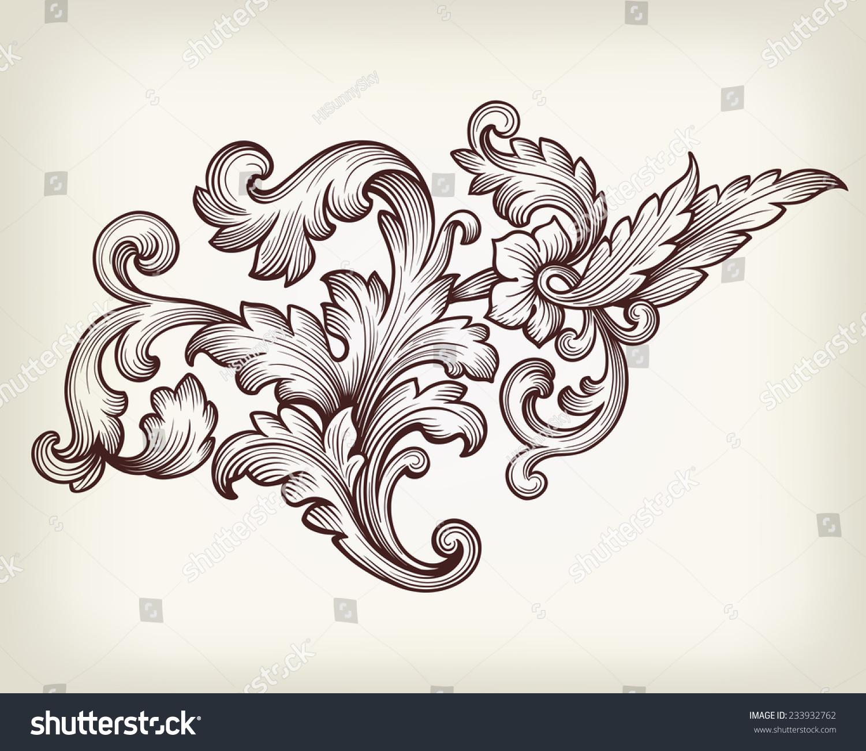vintage baroque floral scroll foliage ornament filigree engraving retro style design element vector
