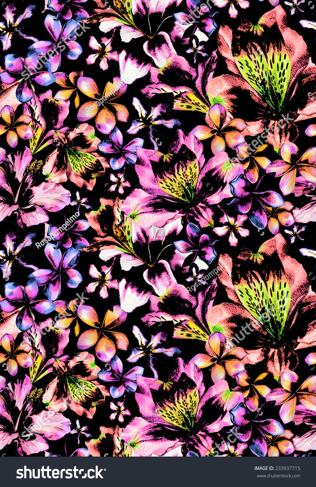 Seamless Dark Tropical Pattern Made Of Exotic Flower Heads Looks