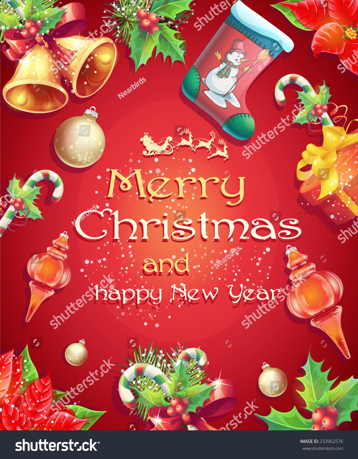 Greeting Card Christmas New Year Image Stock Vector Royalty Free