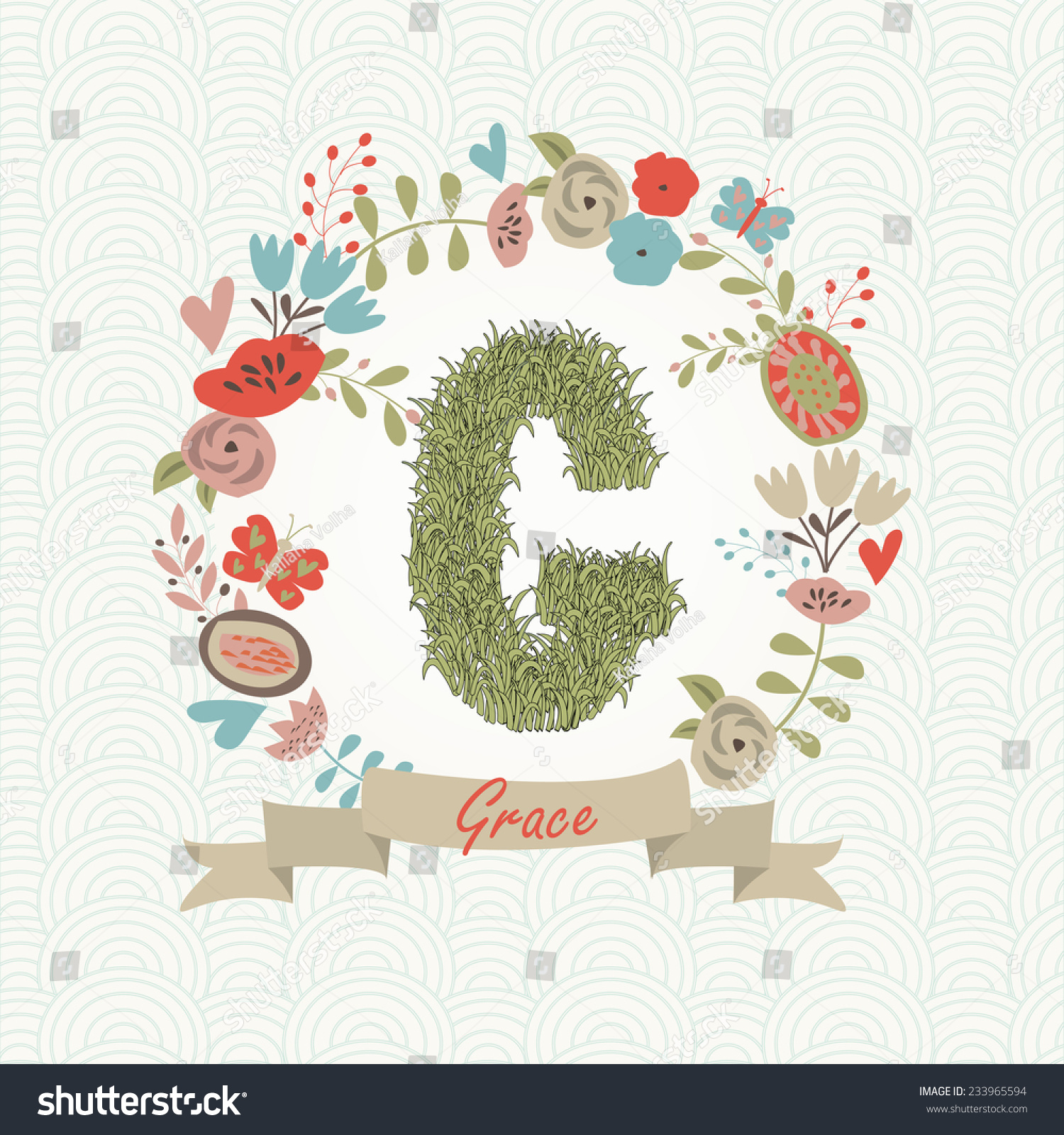 Grass Letter G Floral Frame Grace Stock Vector Royalty Free