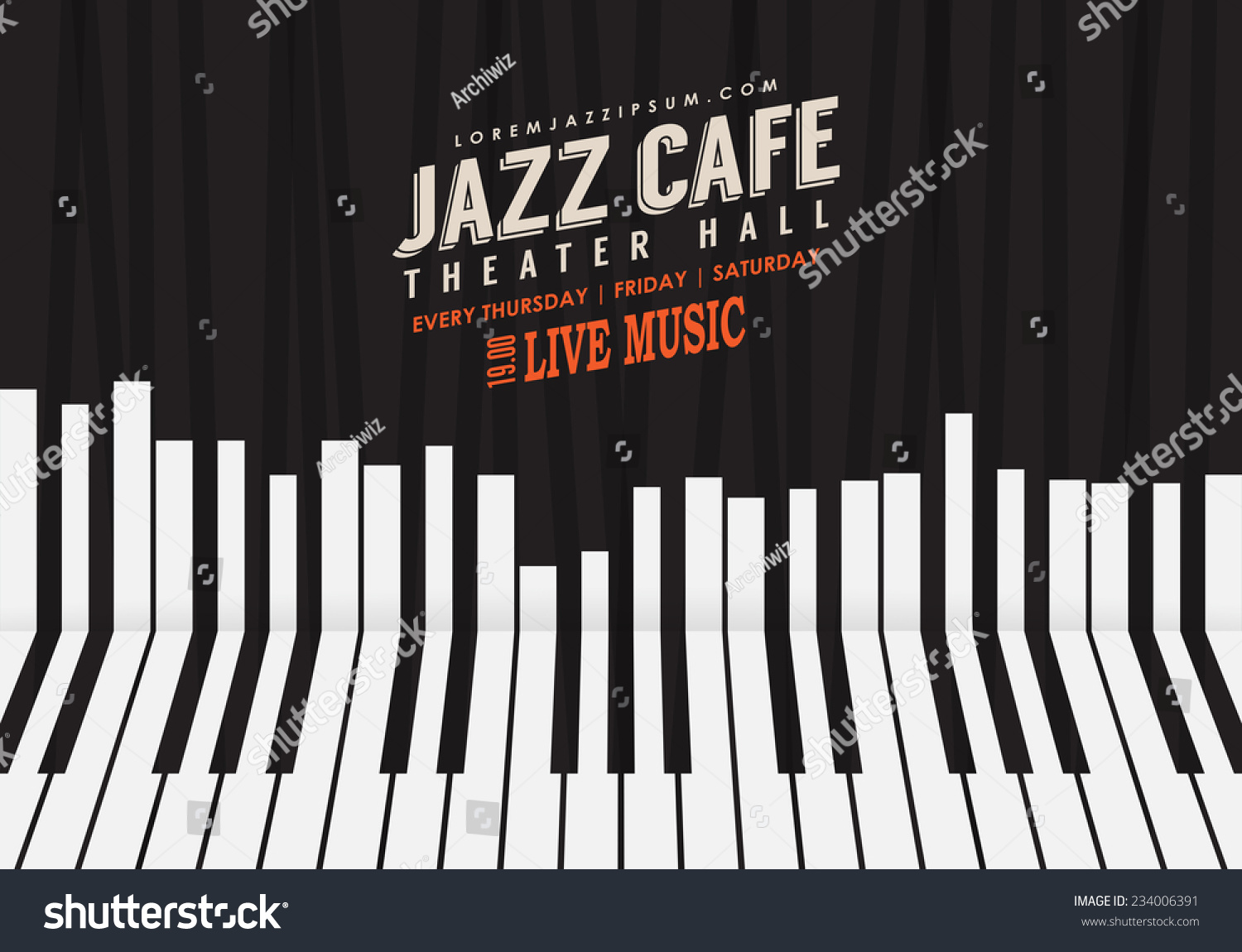 jazz music poster background template piano stock vector 234006391 shutterstock. Black Bedroom Furniture Sets. Home Design Ideas